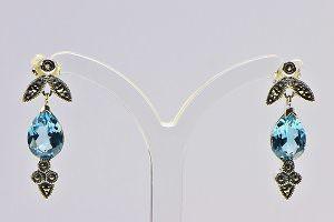 Markasit Blautopas Ohrhänger bei der Schatzinsel